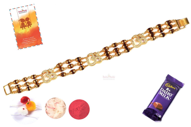 Unique OM with Rudraksh Bracelet Rakhi 1