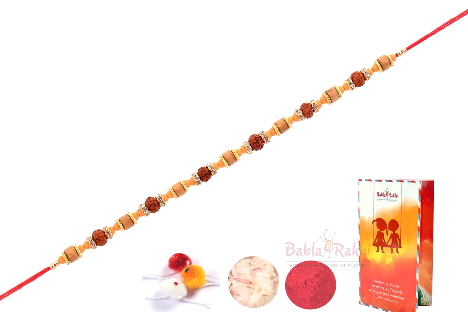 Fine Finishing Wooden Beads Rakhi 2