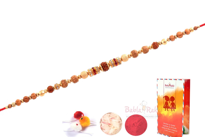 Rudraksh Wooden Beads Gold Plates Rakhi 2