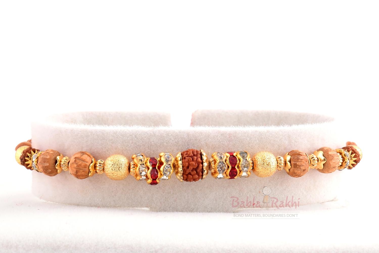 Rudraksh Wooden Beads Gold Plates Rakhi 1