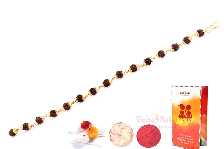 Gold Plates Rudraksh Bracelet Rakhi 2