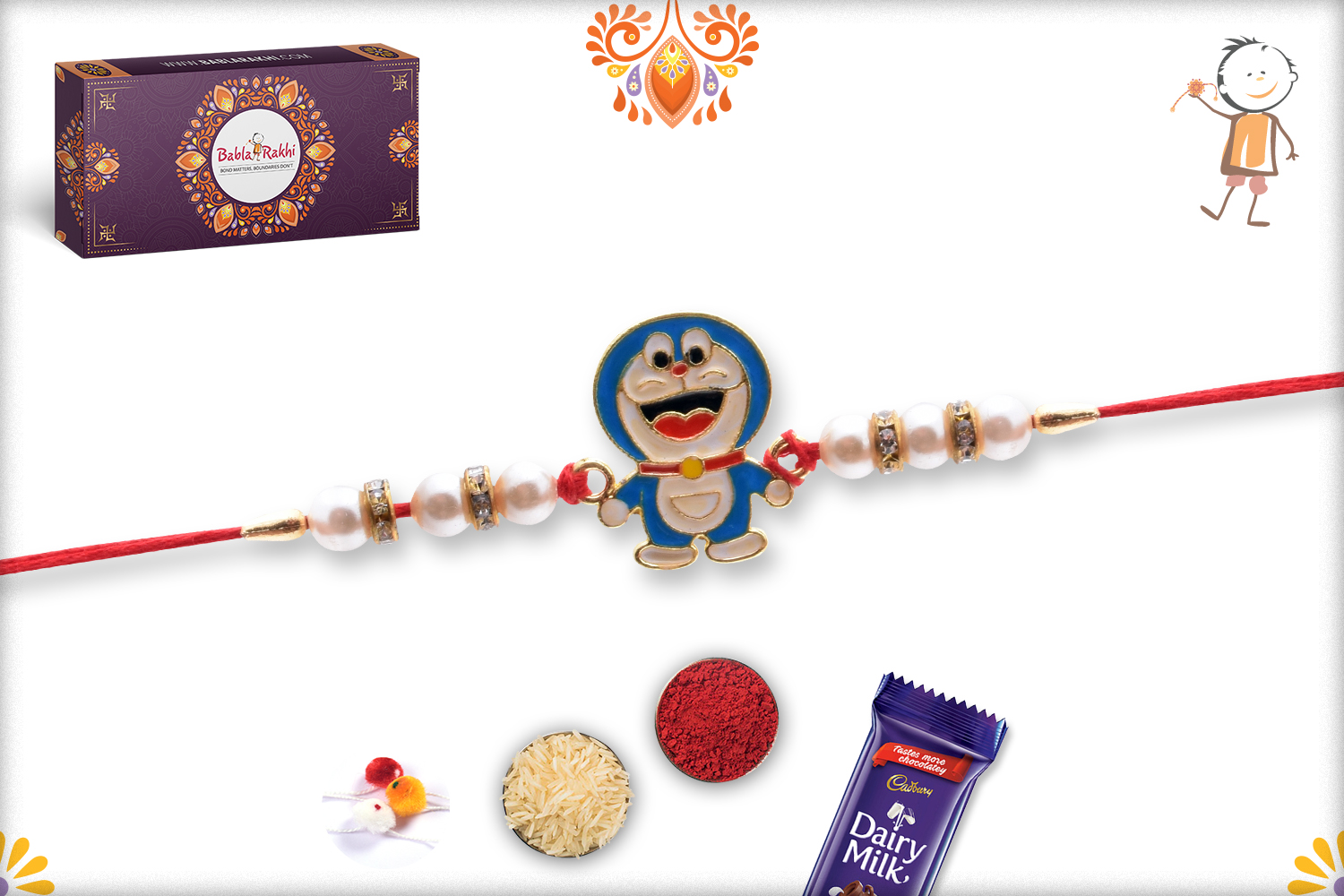 Naughty Doramon with Pearl Beads Rakhi 2