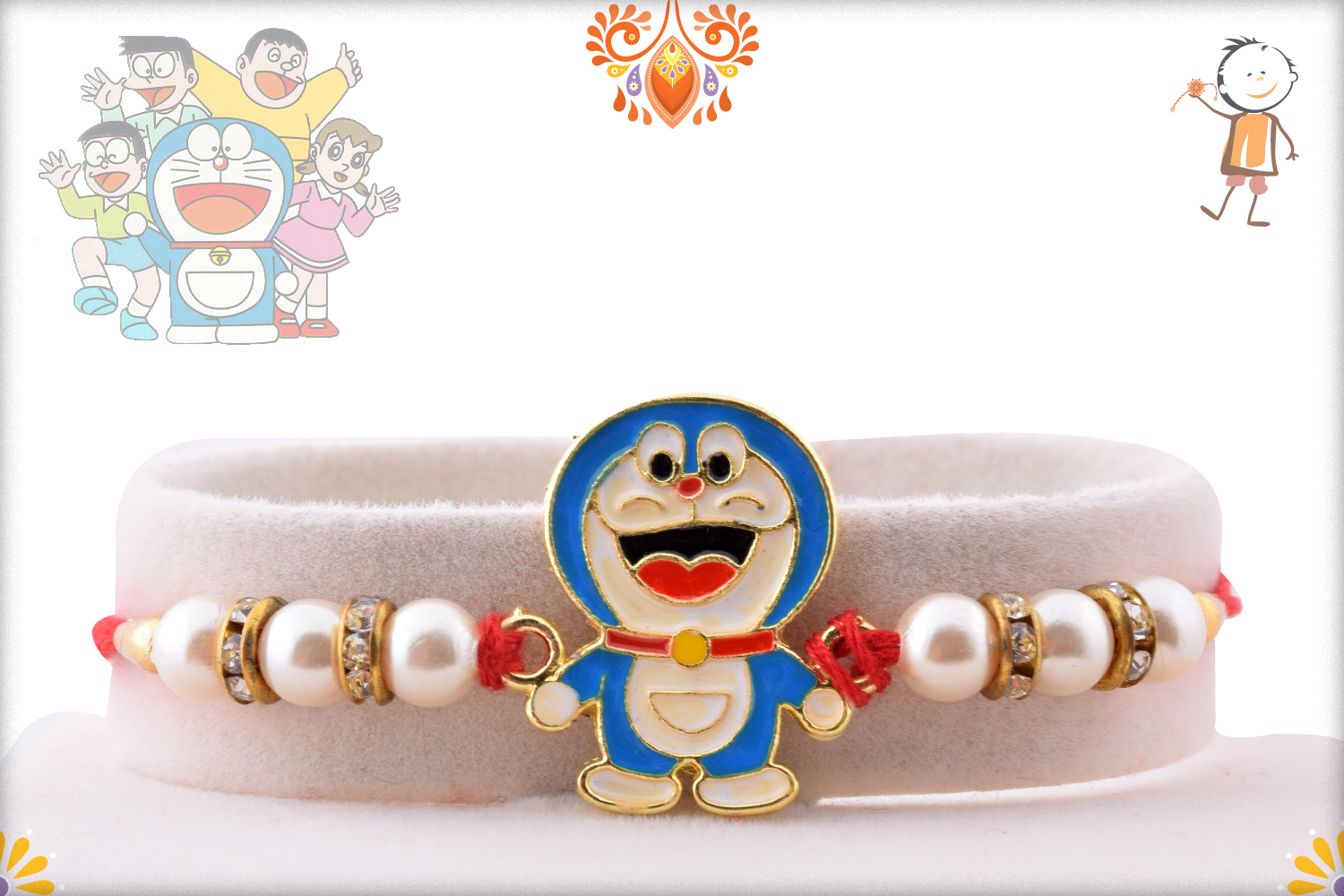 Naughty Doramon with Pearl Beads Rakhi 1