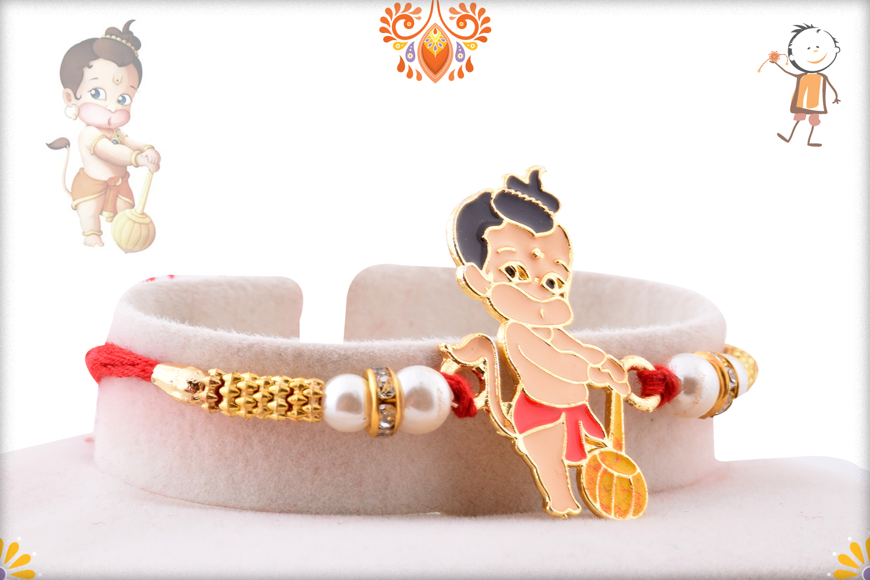 Bal Hanuman with Pear Beads Rakhi 2