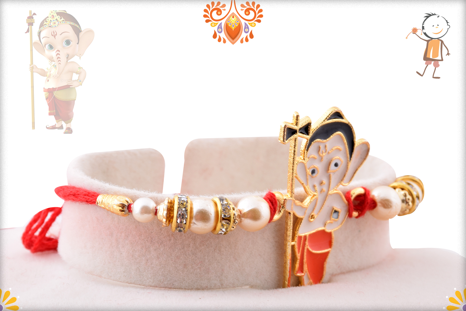 Ganesha with Damru and Pearl Beads Rakhi 2