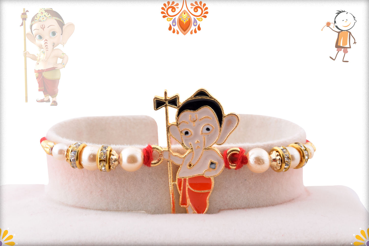 Ganesha with Damru and Pearl Beads Rakhi 1