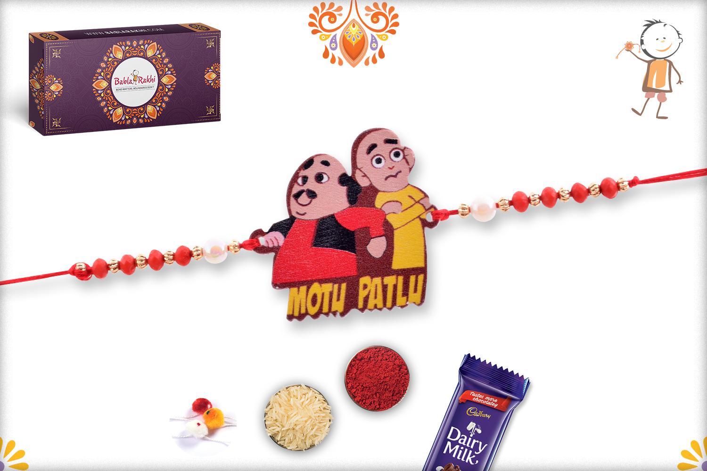 Naughty Motu Patlu with Pearl Beads Rakhi 1