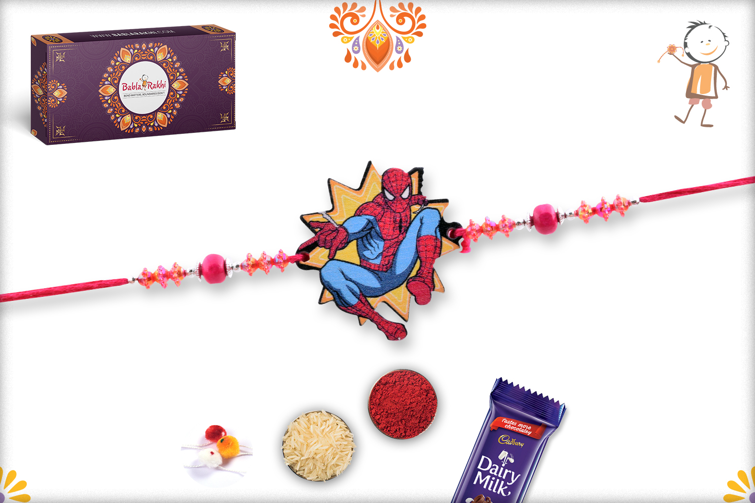 Wooden Base Spiderman with Powerful Red Pearl Rakhi 1
