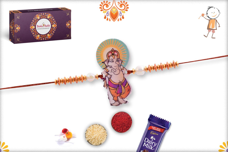 Muscly Ganpati with Pearl Beads Rakhi 1