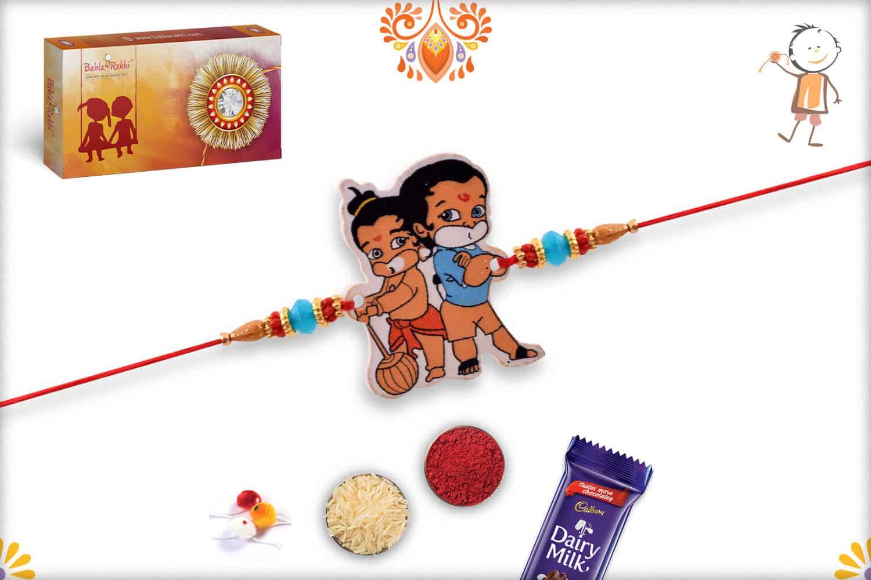 Bal Hanuman Kids Rakhi with Blue Beads - Babla Rakhi