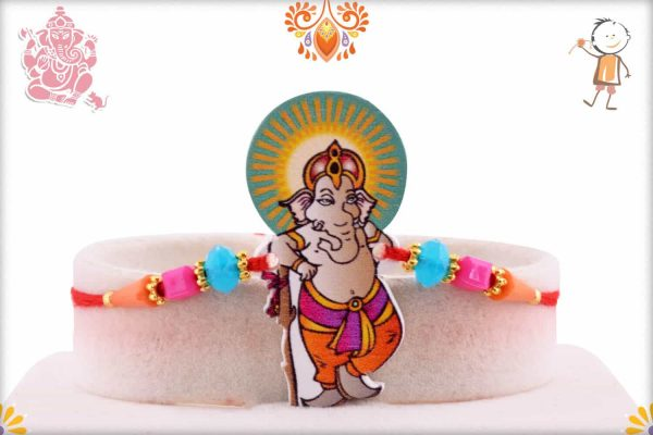 Lovely Ganesha Kids Rakhi with Beautiful Beads - Babla Rakhi