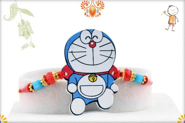 Doraemon Kids Rakhi with Red-Blue Beads - Babla Rakhi