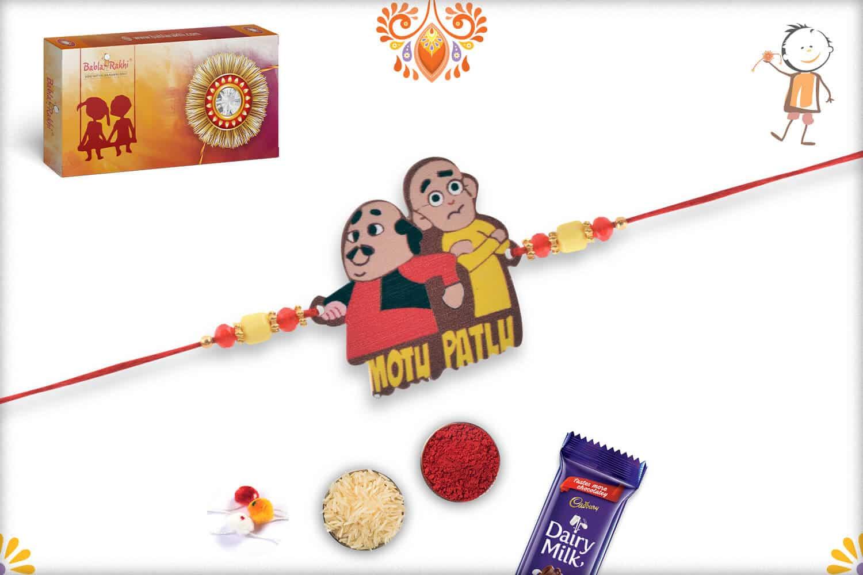 Cute Motu Patlu Kids Rakhi with Red-Yellow Beads - Babla Rakhi