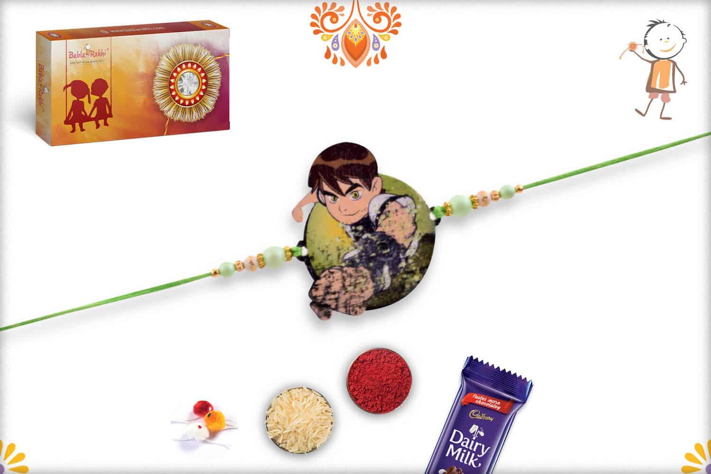 Ben 10 Kids Rakhi with Green Thread - Babla Rakhi