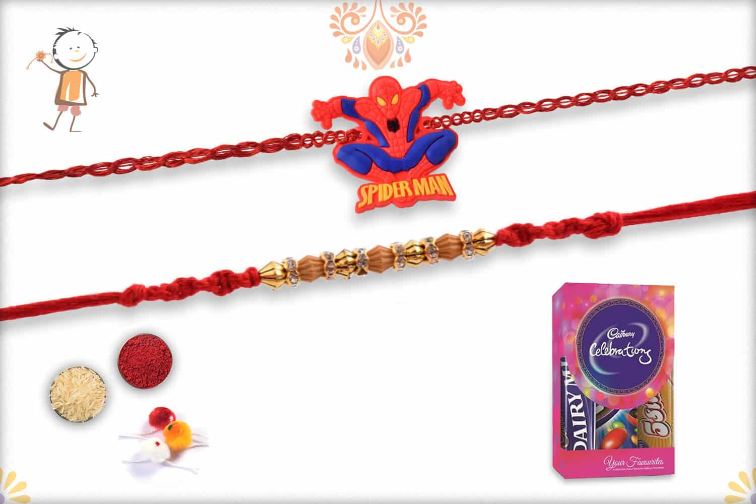 Two Set Rakhi with Cadbury Celebrations (Small) - Babla Rakhi