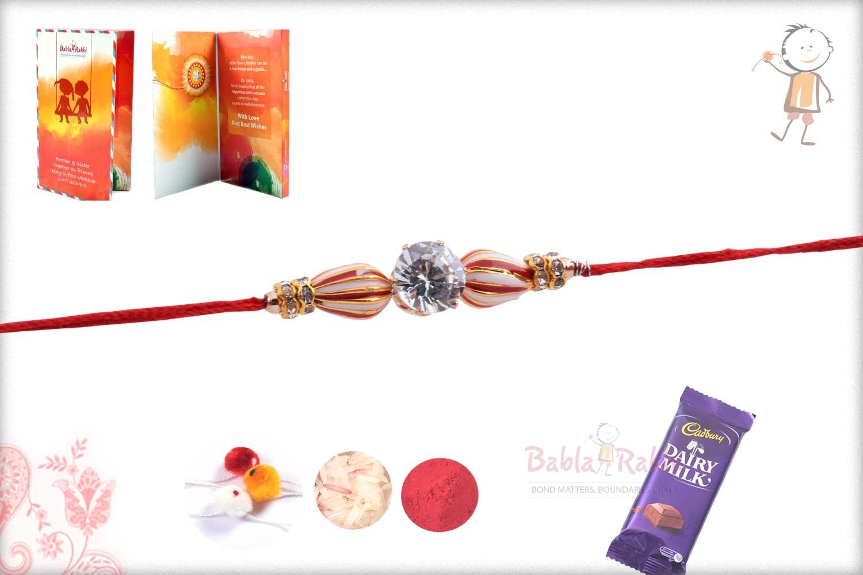 Peppermint Bead Rakhi with Diamond 2