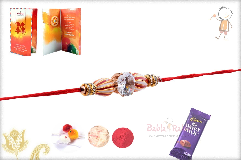 Peppermint Bead Rakhi with Diamond 3