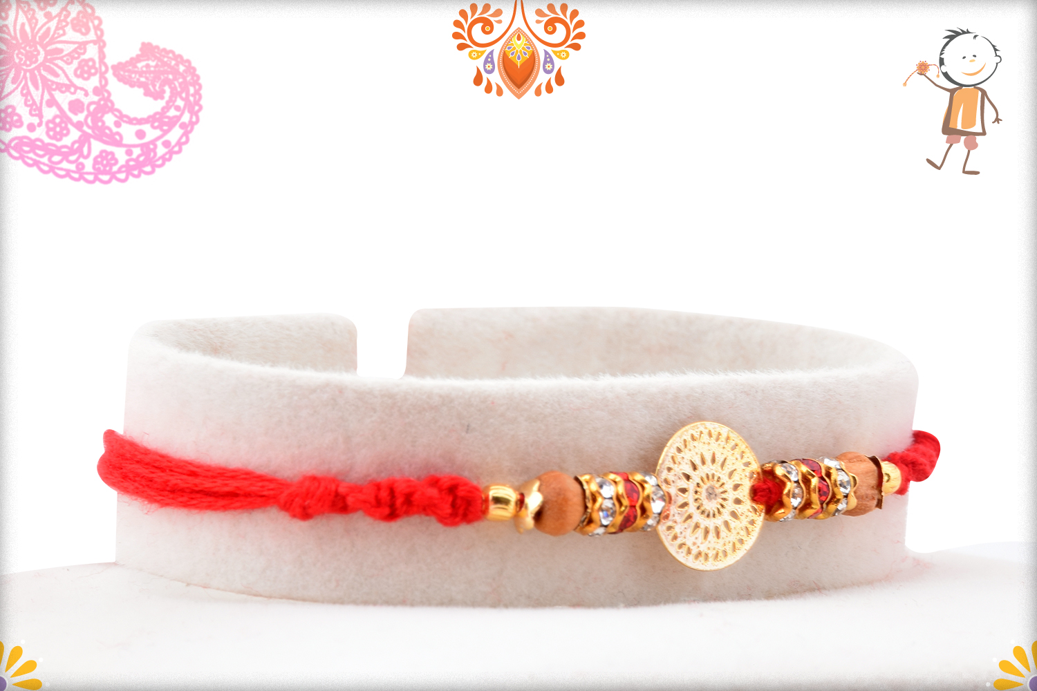 Golden Trendy Flower With Wooden Pearl Rakhi 2