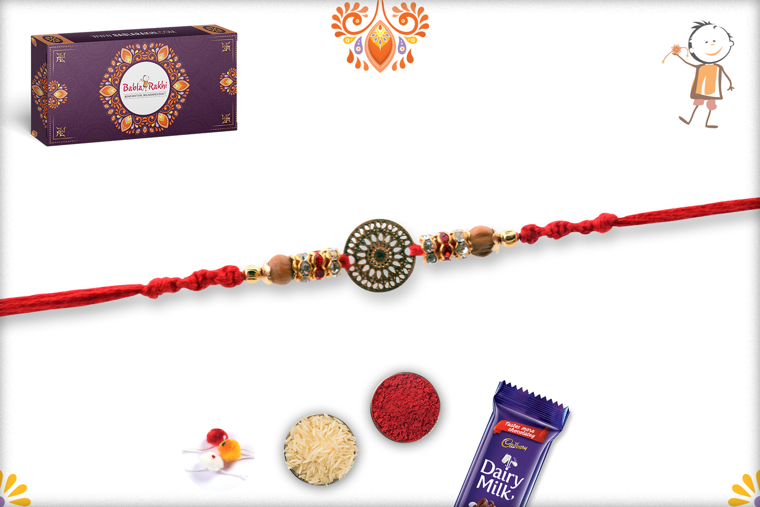 Golden Trendy Flower With Wooden Pearl Rakhi 3