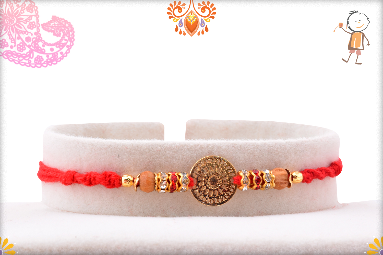 Golden Trendy Flower With Wooden Pearl Rakhi 1