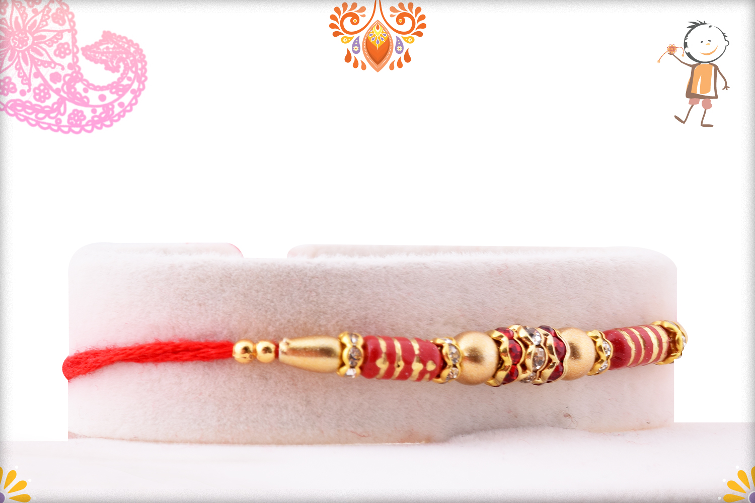 Simple Yet Elegant Combination Of Red And Golden Rakhi 2
