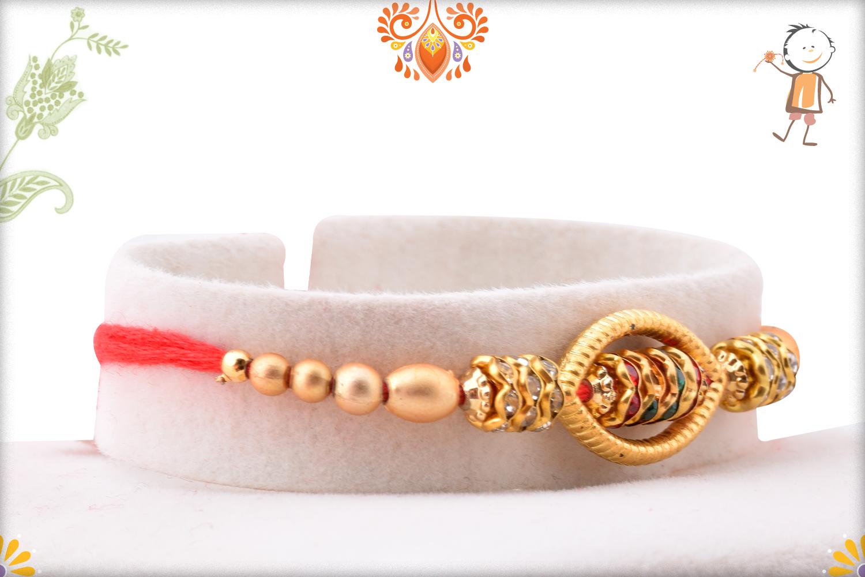 Oval Shape Unoque Golden Pearls Rakhi 2