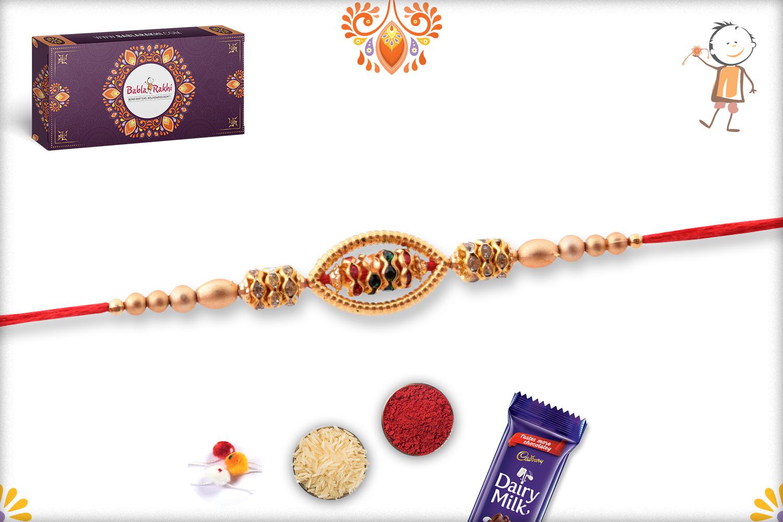 Oval Shape Unoque Golden Pearls Rakhi 3