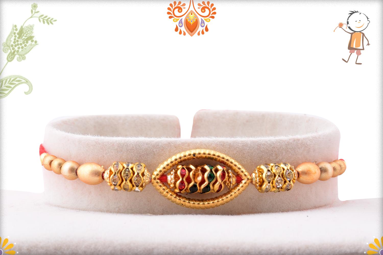 Oval Shape Unoque Golden Pearls Rakhi 1