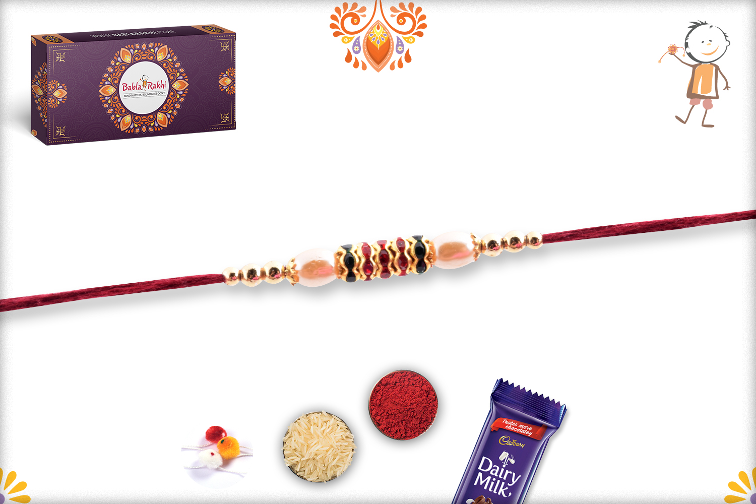Royal Combination Of Gold And White Pearl Beads Rakhi 2