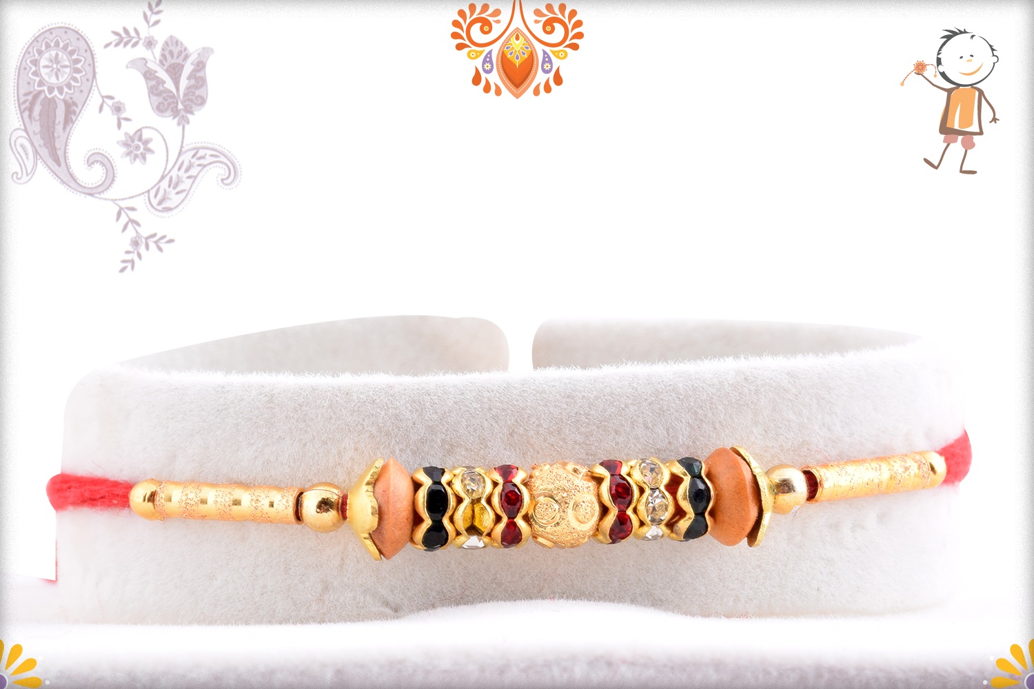 Classic And Elegant Combination Of Golden And Wooden Pearl Rakhi 1