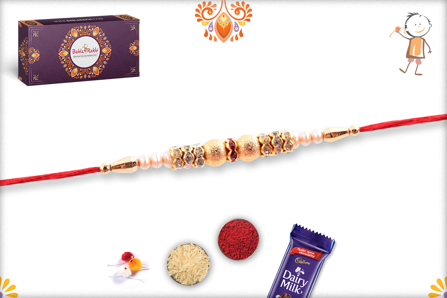 Classic And Beatiful White And Golden Pearls Rakhi 2