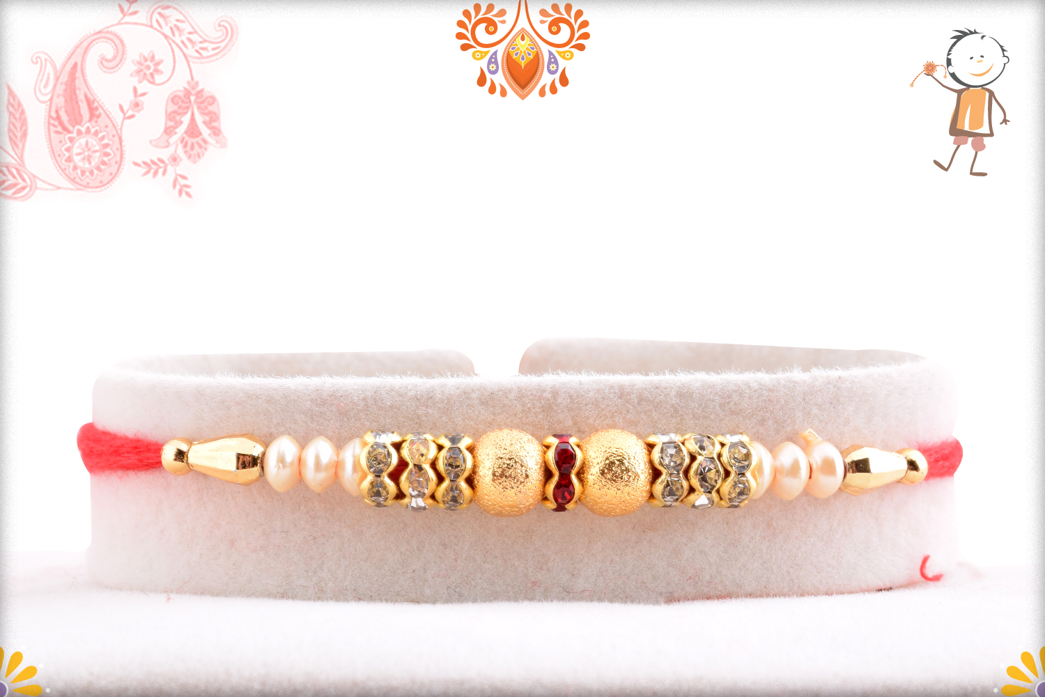 Classic And Beatiful White And Golden Pearls Rakhi 1