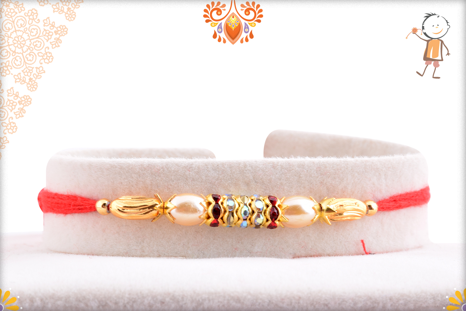 Beatiful White Pearl And Kundan Rakhi 1