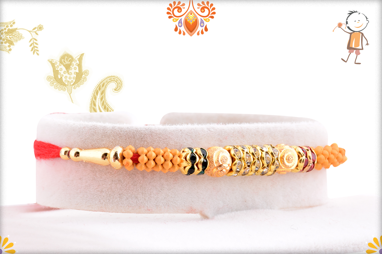 Stunning Wooden Beads Flower And Gold Rakhi 2