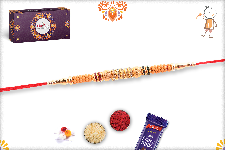 Stunning Wooden Beads Flower And Gold Rakhi 3