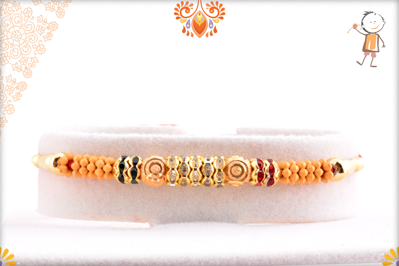 Stunning Wooden Beads Flower And Gold Rakhi 1