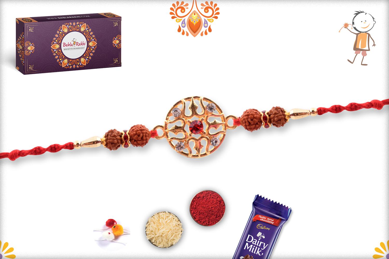 Powerful Combination Of Rudraksha And Trishul Rakhi 1