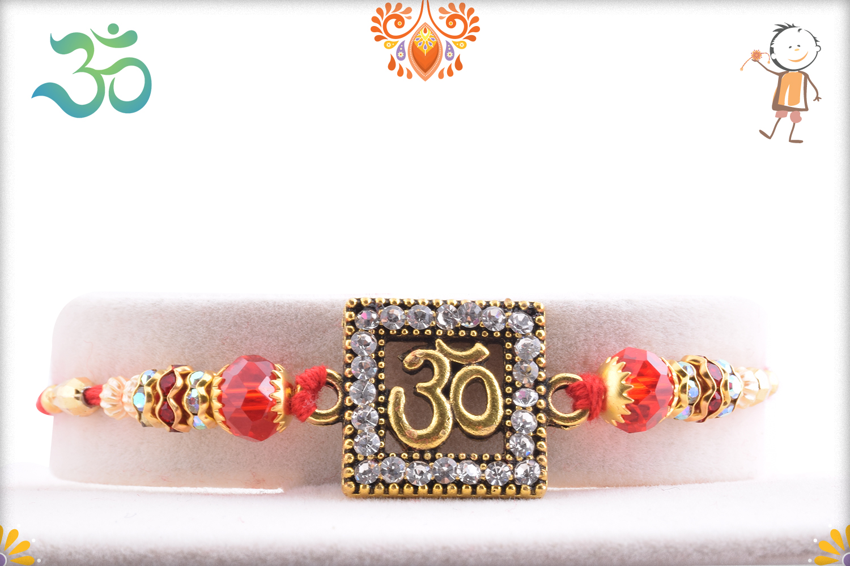 Unique Combination Of Diamond And Copper Om Rakhi 1