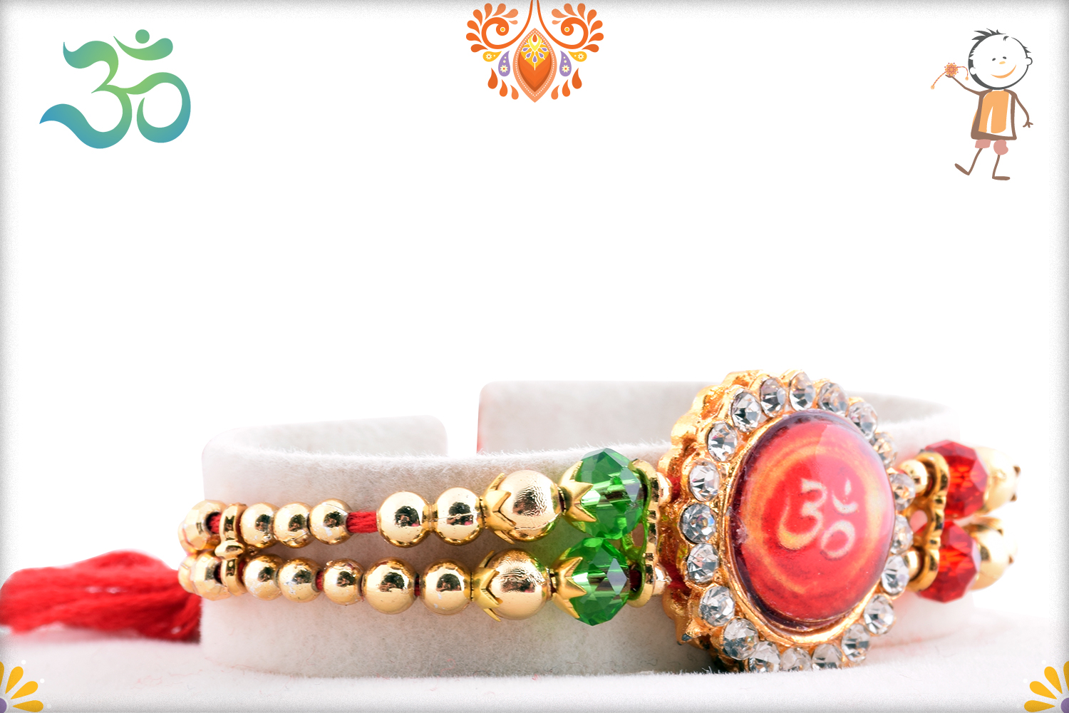 Royal Red Stone With Om And Diamond Rakhi 2
