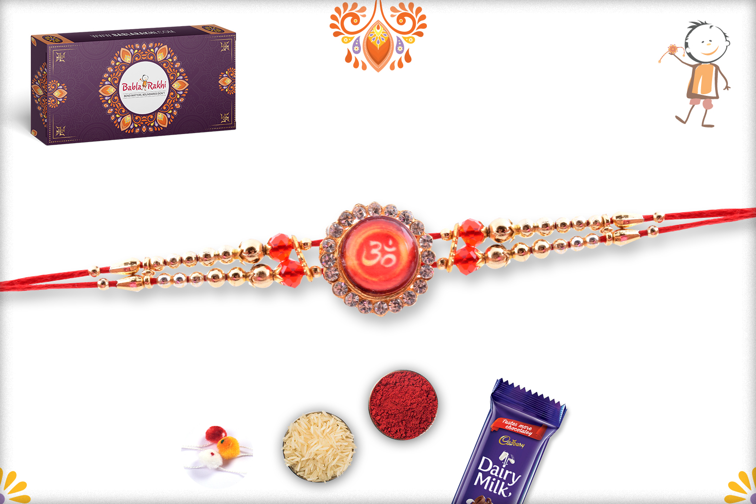 Royal Red Stone With Om And Diamond Rakhi 3