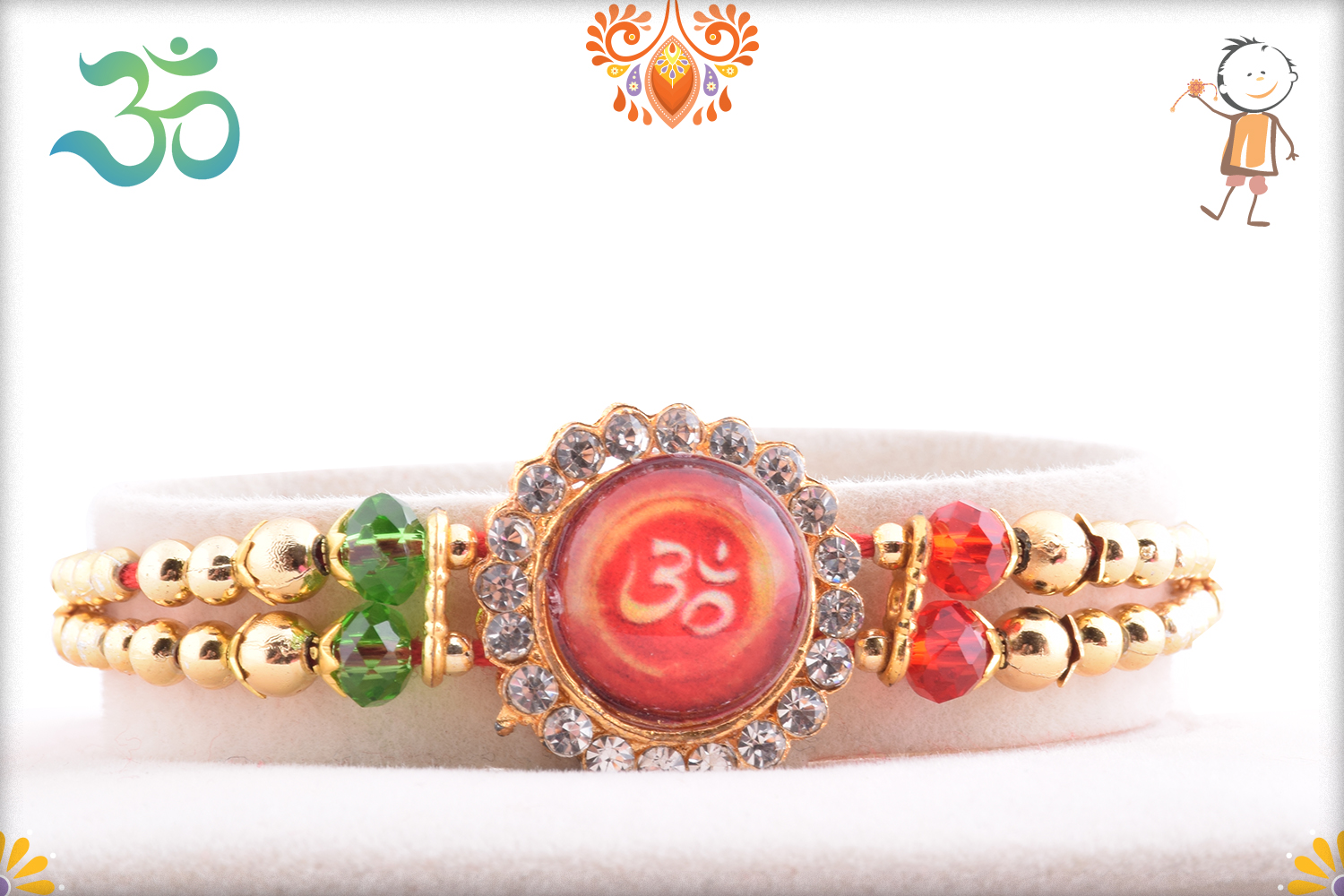Royal Red Stone With Om And Diamond Rakhi 1