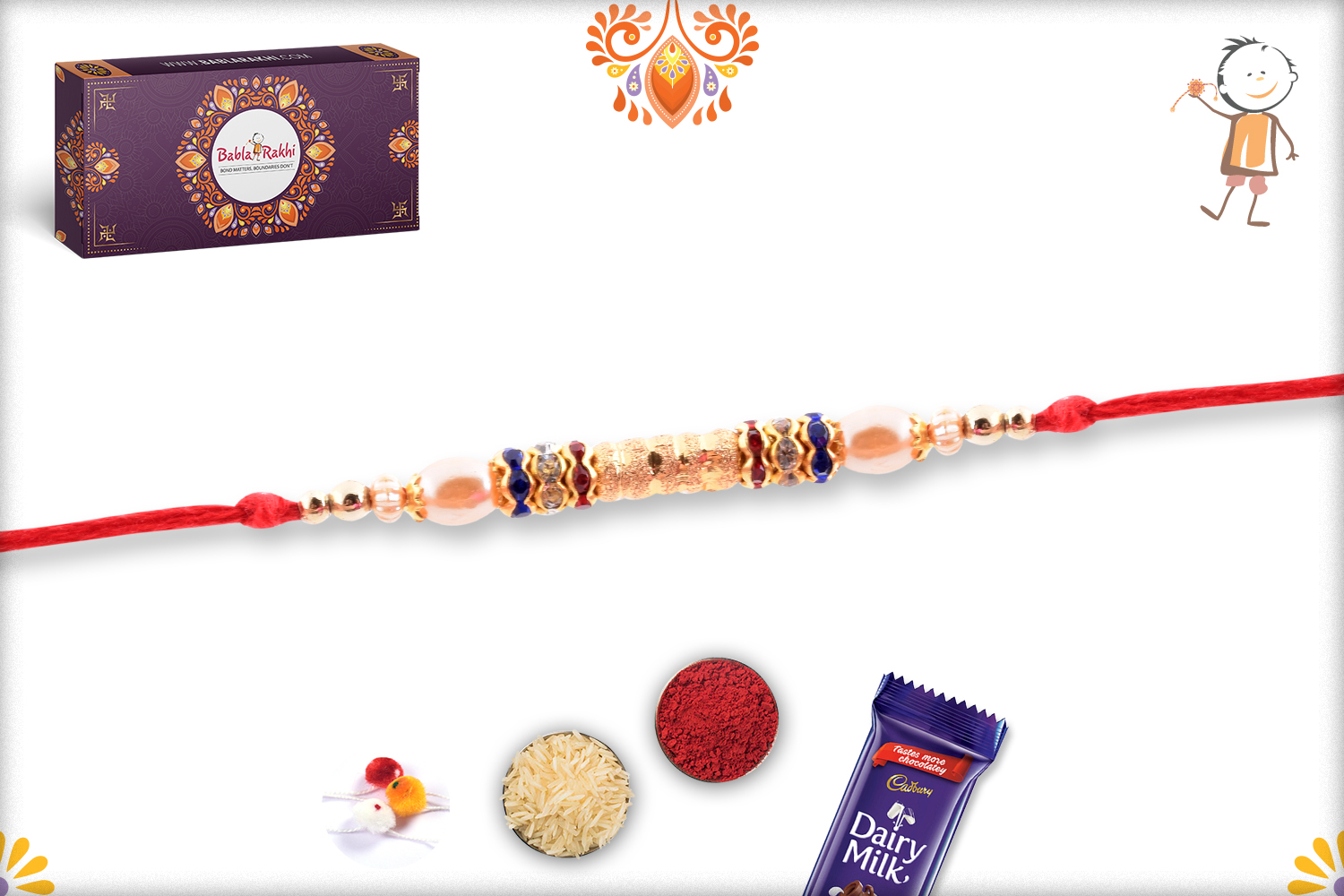 Simple And Golden Shiny Pearl Rakhi 2