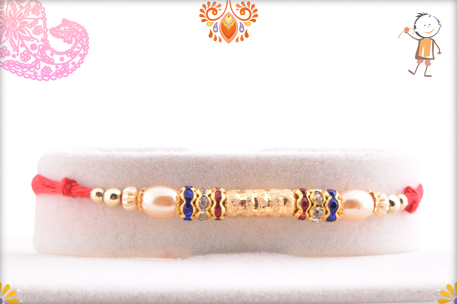 Simple And Golden Shiny Pearl Rakhi 1
