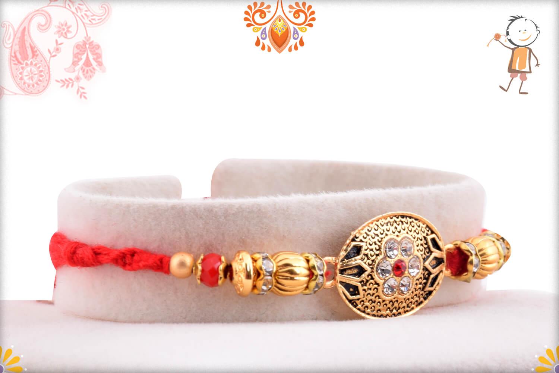Antique Metalique Designer Rakhi With Stone and Golden Beads Rakhi 2