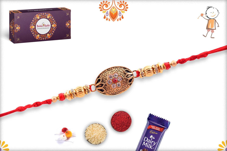 Antique Metalique Designer Rakhi With Stone and Golden Beads Rakhi 3