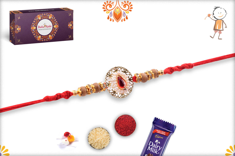 Antique Metalique Designer Rakhi With Stone and Golden Beads Rakhi 4