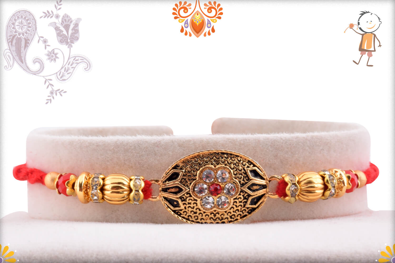 Antique Metalique Designer Rakhi With Stone and Golden Beads Rakhi 1