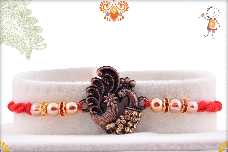 Antique Metalique Finish Peacock With Golden Beads Rakhi 1