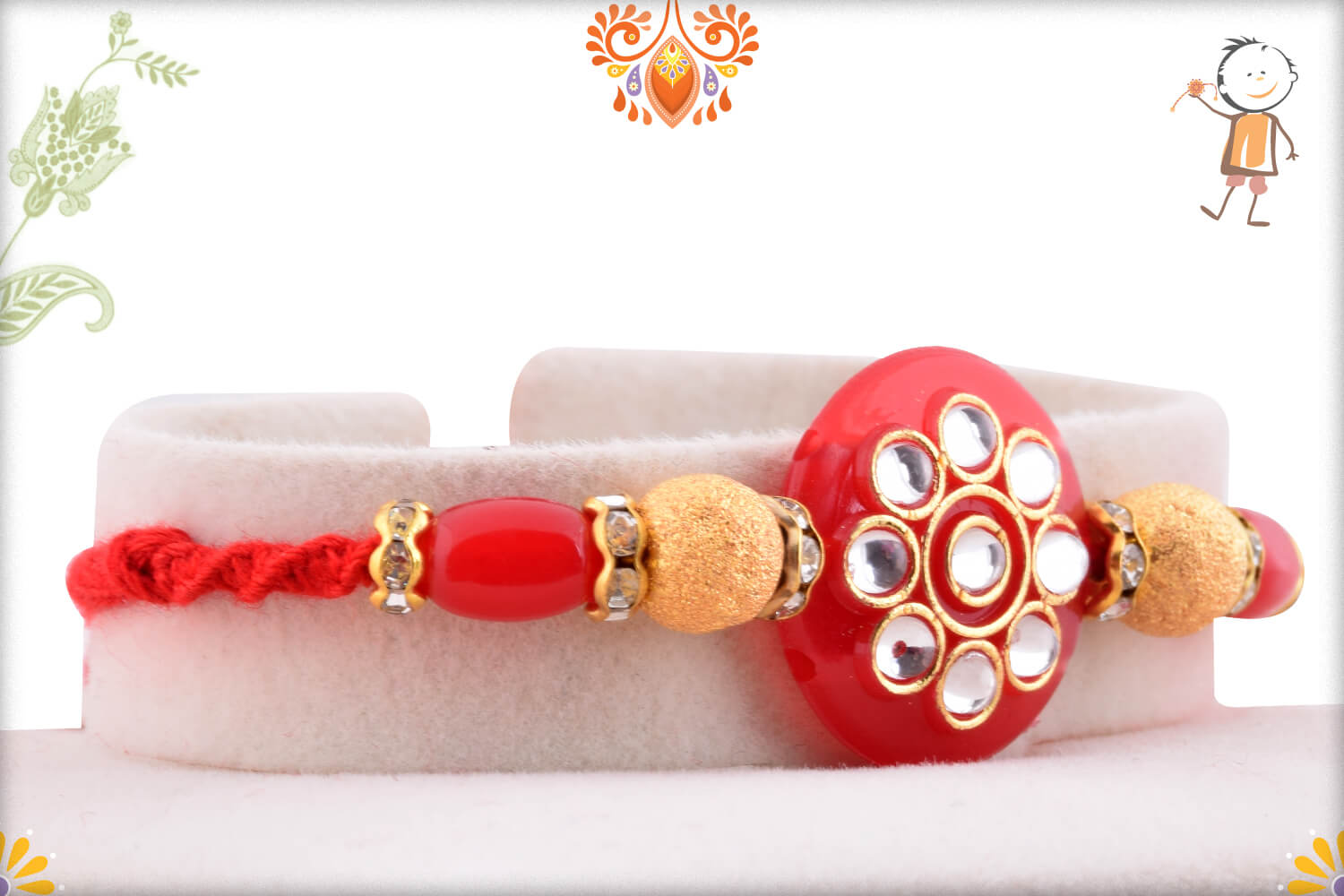 Antique Red Marble and Kundan Rakhi With Gold Pearl Beads 2