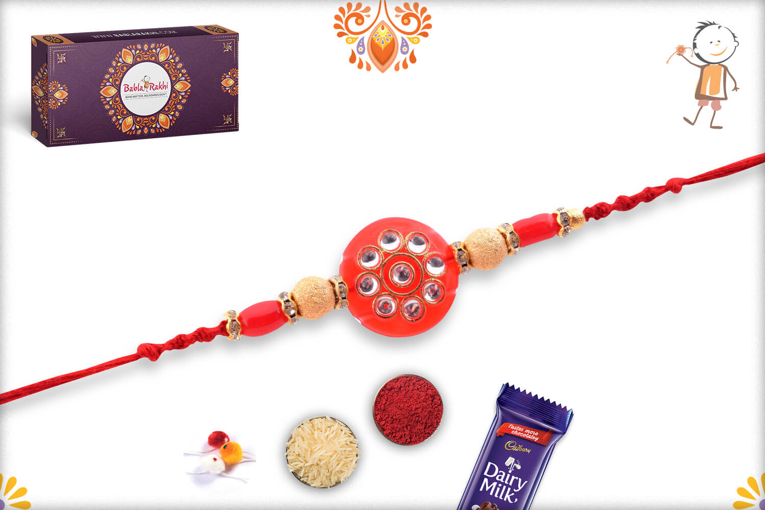Antique Red Marble and Kundan Rakhi With Gold Pearl Beads 3
